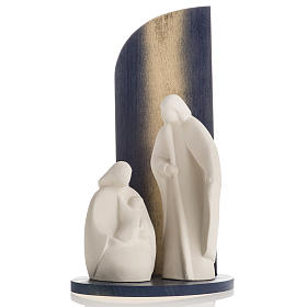 Nativity scene Noel model in white clay and gold natural wood,28 s2