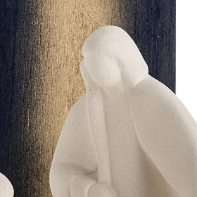 Nativity scene Noel model in white clay and gold natural wood,28 s4