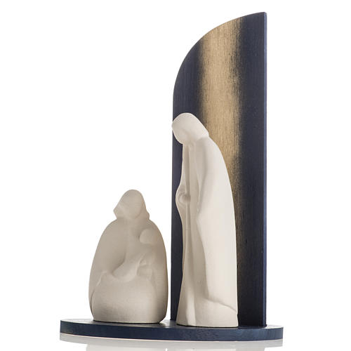 Nativity scene Noel model in white clay and gold natural wood,28 5