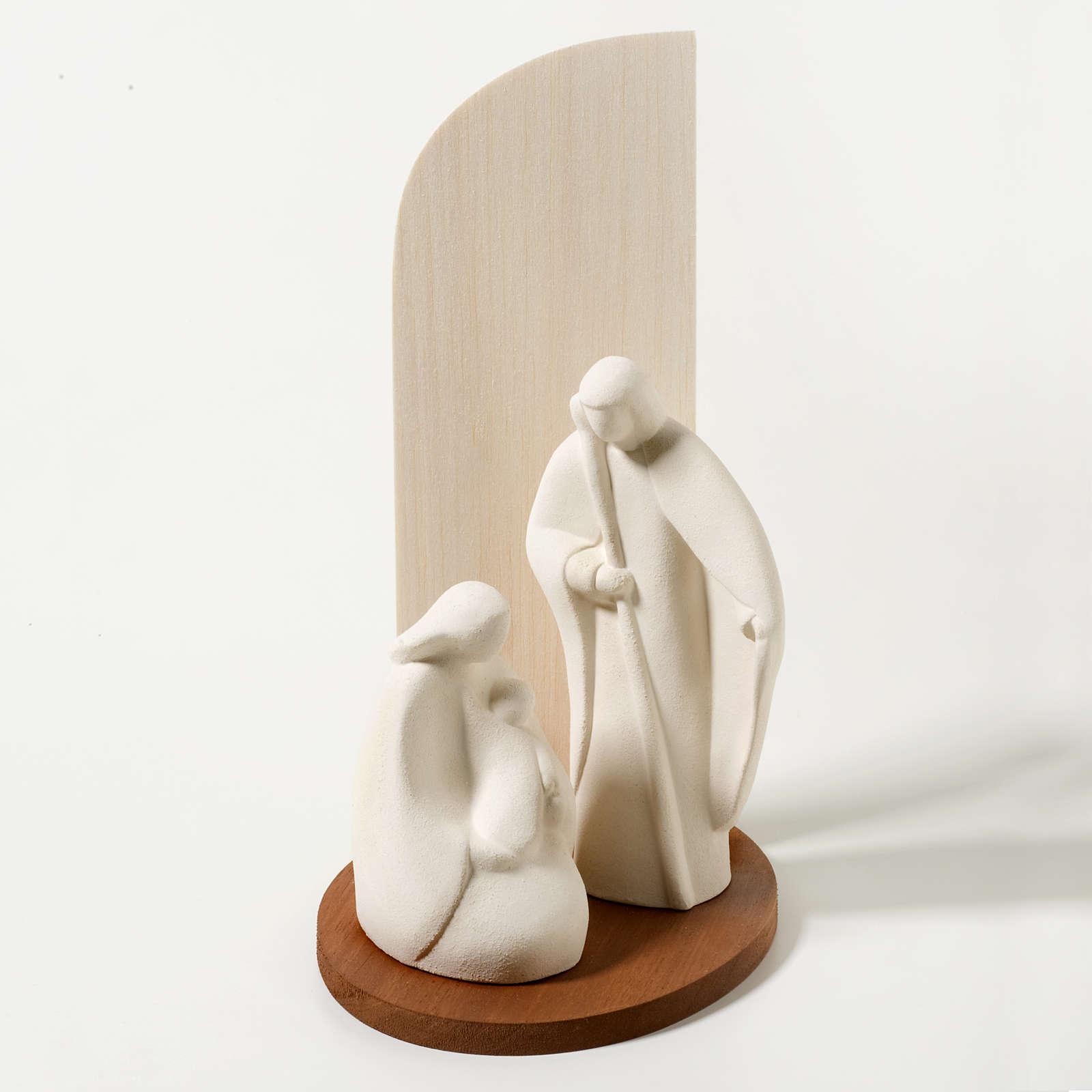 Krippe Noel aus Schamotteton und natürlichem Holz 4
