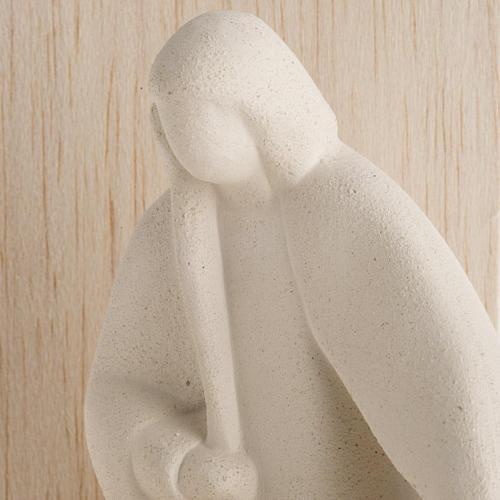 Nativity scene Noel model in white clay and natural wood, 28cm 4