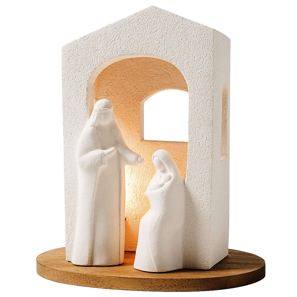 Nativity scene with light in white clay, 25,5cm 4