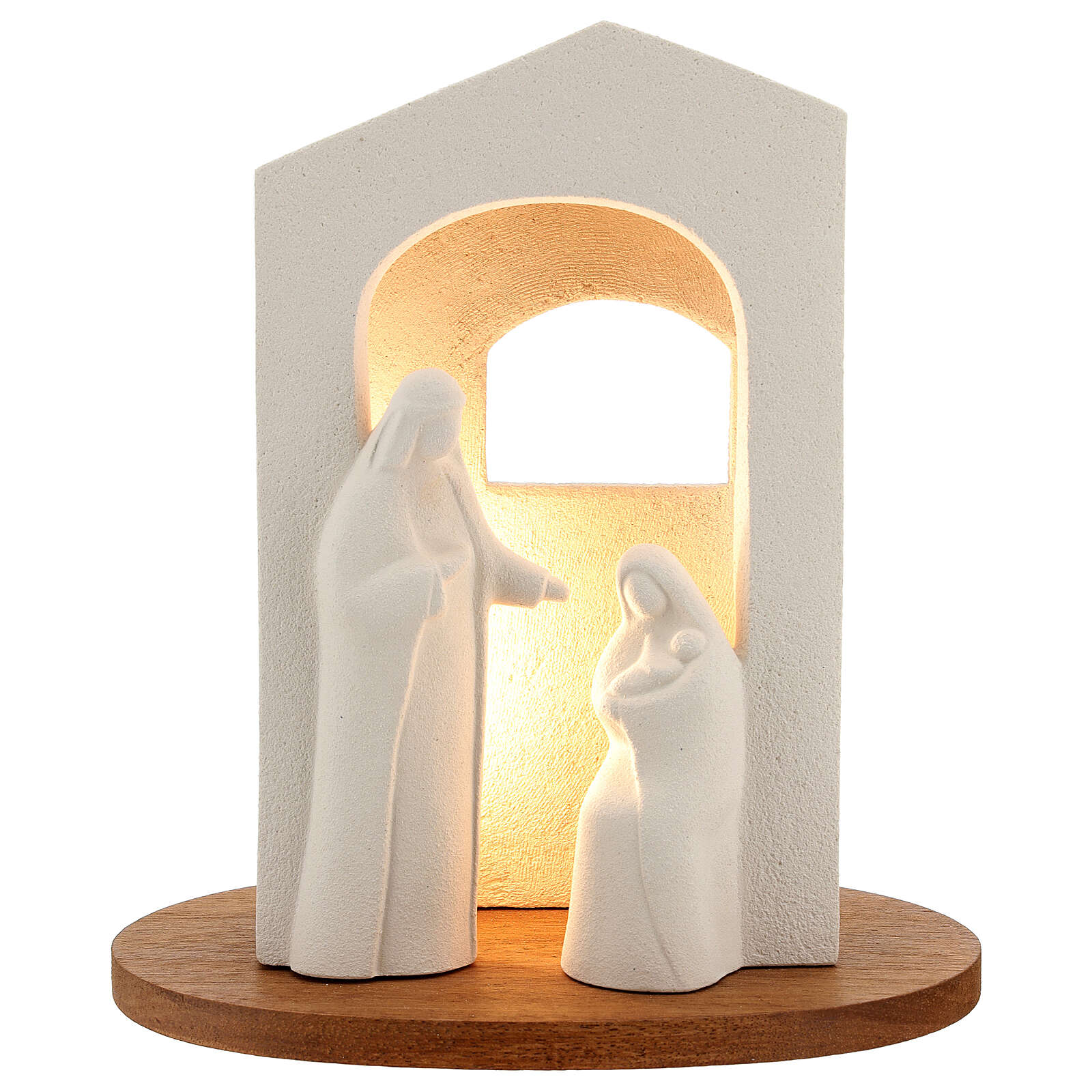 Nativity scene with light in white clay, 25,5cm 4