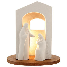 Nativity scene with light in white clay, 25,5cm s1