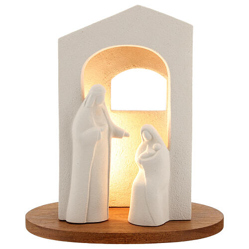 Nativity scene with light in white clay, 25,5cm 1