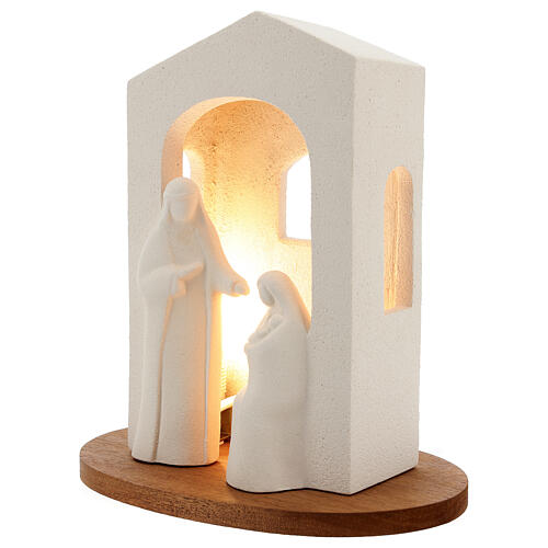 Nativity scene with light in white clay, 25,5cm 2