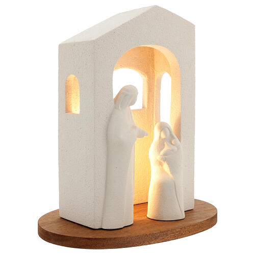Nativity scene with light in white clay, 25,5cm 3