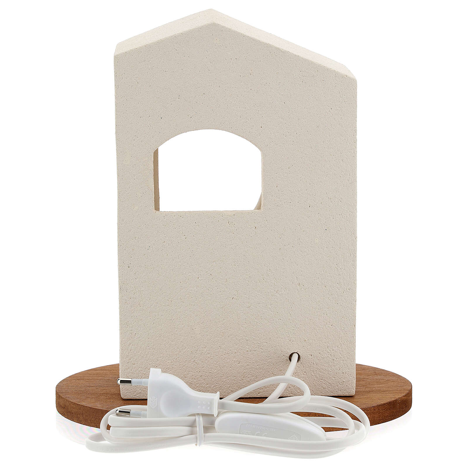 Pesebre de navidad con luz de arcilla blanca H 25,5cm 4