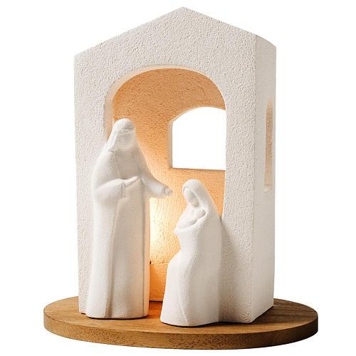 Pesebre de navidad con luz de arcilla blanca H 25,5cm 1