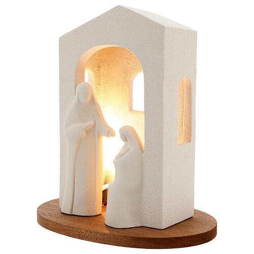 Pesebre de navidad con luz de arcilla blanca H 25,5cm 2
