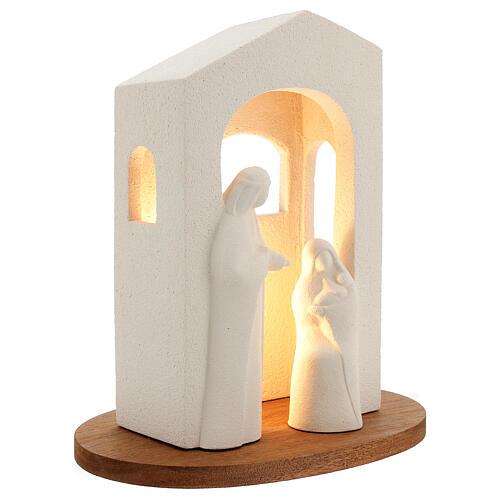 Pesebre de navidad con luz de arcilla blanca H 25,5cm 3