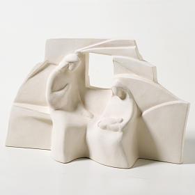 Crèche Nazareth argile blanche 18 cm s1