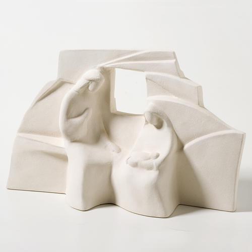 Crèche Nazareth argile blanche 18 cm 1