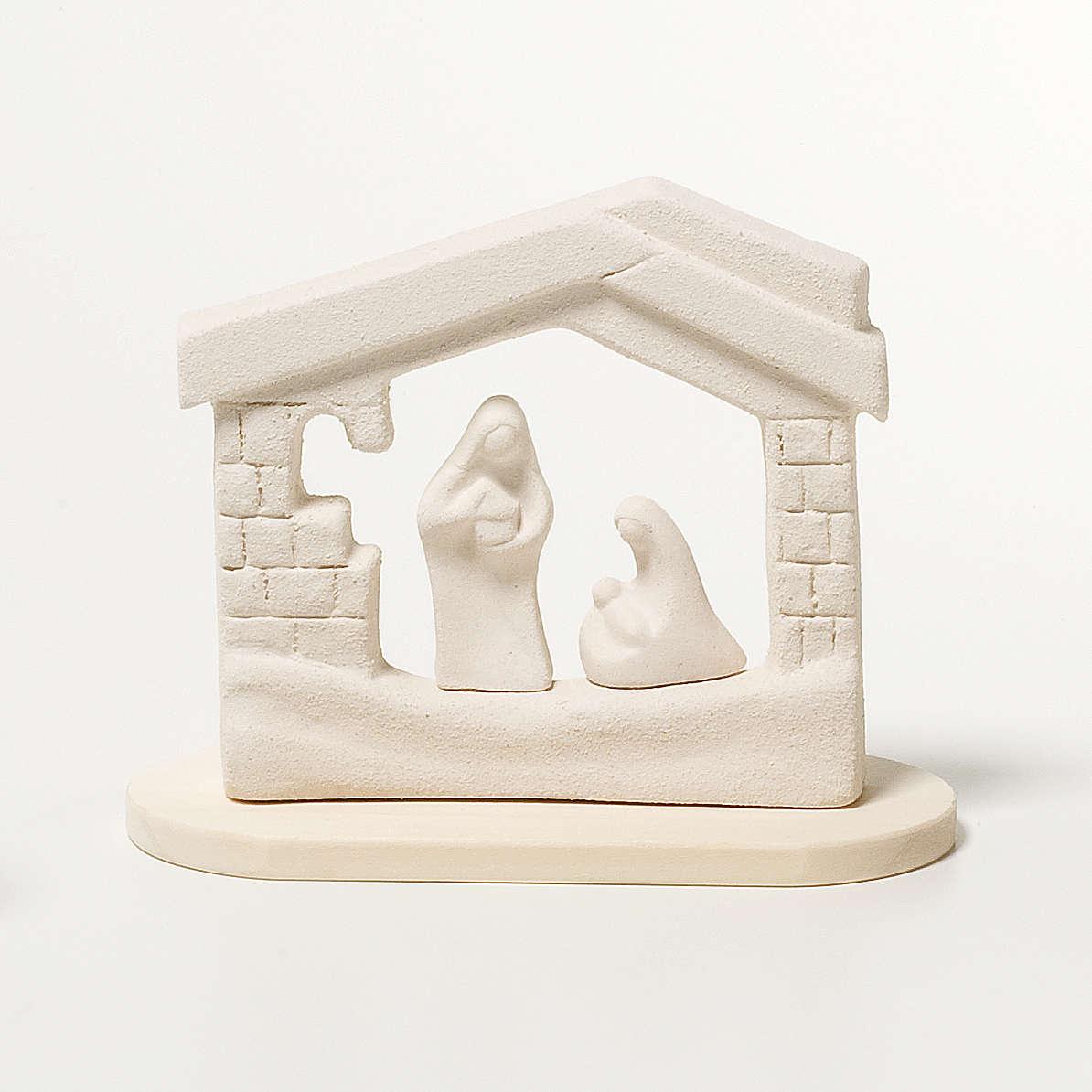 Presepe casetta Natale su base argilla 14,5 cm 4