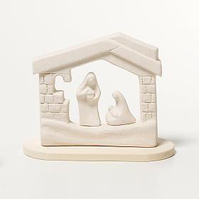 Presepe casetta Natale su base argilla 14,5 cm s1