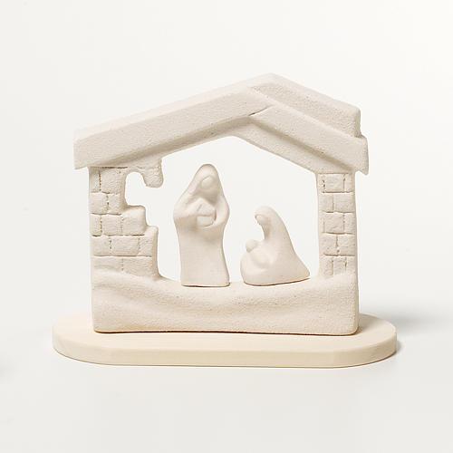 Presepe casetta Natale su base argilla 14,5 cm 1