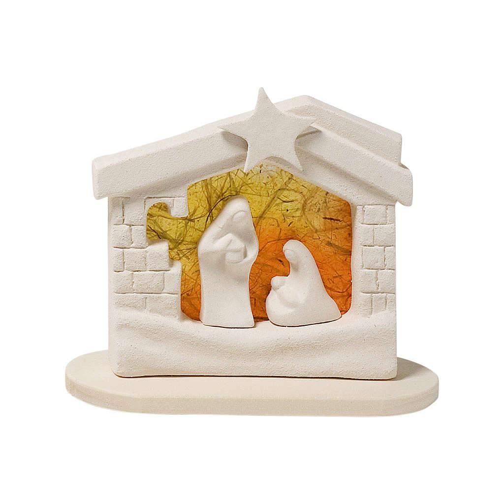 Nativity scene, nativity stable in clay with base, orange 14,5cm 4
