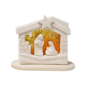 Casa del pesebre de Navidad en arcilla naranja de 14,5cm s1