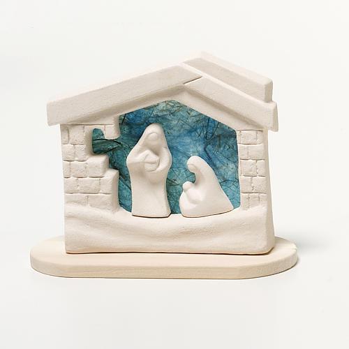 Crèche maison de Noel argile turquoise 14.5 cm 1