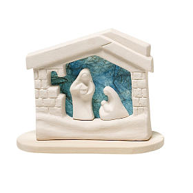 Presepe casetta Natale su base argilla turchese 14,5 cm s1