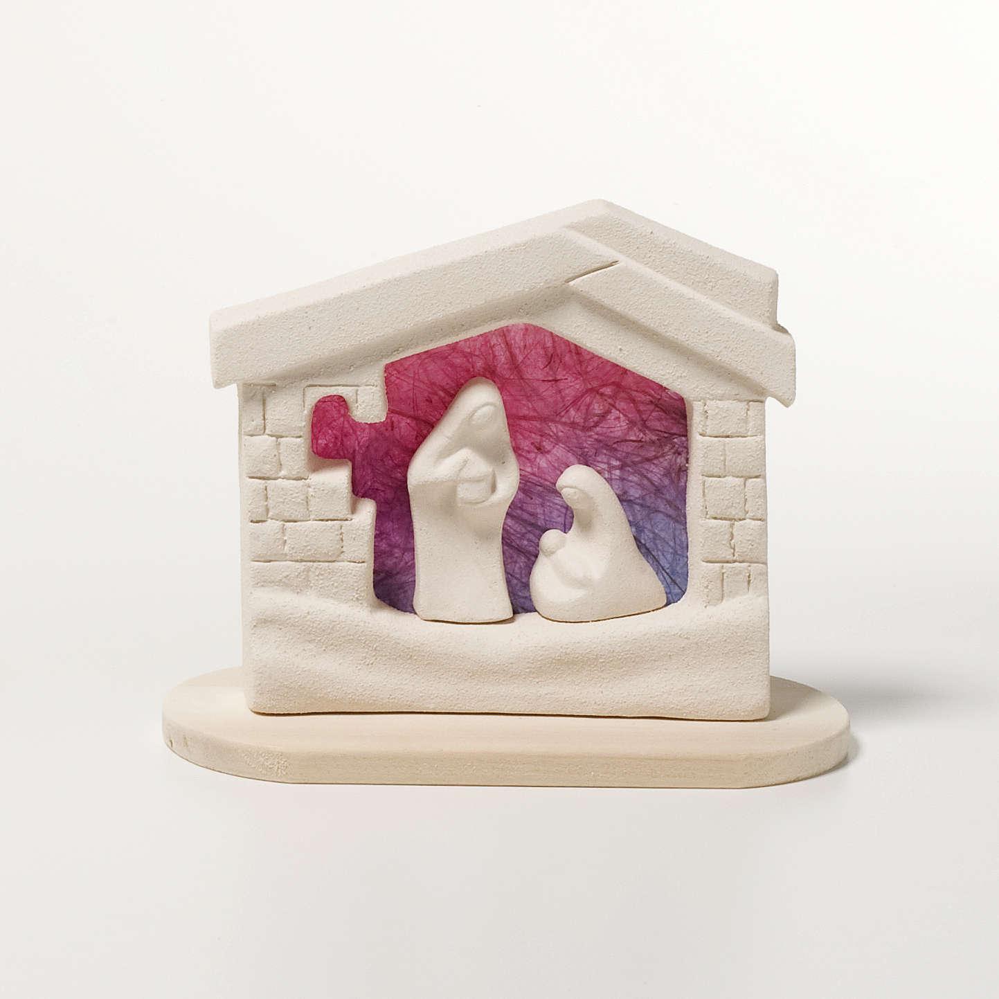 Presepe casetta Natale su base argilla viola 14,5 cm 4