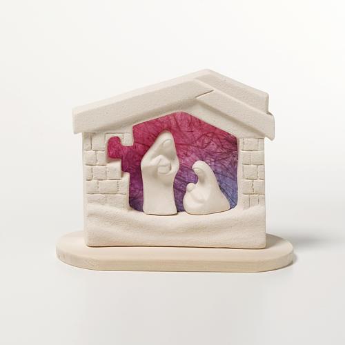 Presepe casetta Natale su base argilla viola 14,5 cm 1