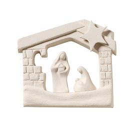 Crèche maison de Noel argile à accrocher 13.5 cm s1