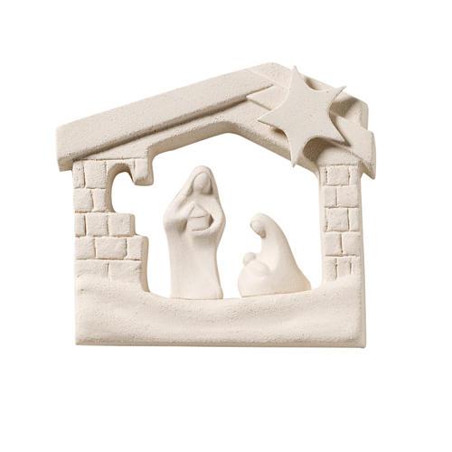 Crèche maison de Noel argile à accrocher 13.5 cm 1