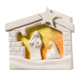 Crèche maison Noel argile orange à accrocher s1