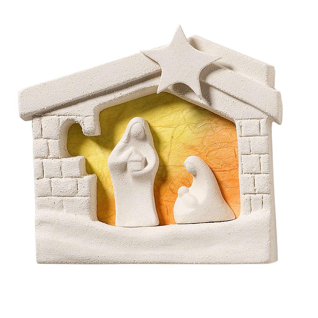 Nativity scene, wall nativity stable in clay, orange 13,5cm 4