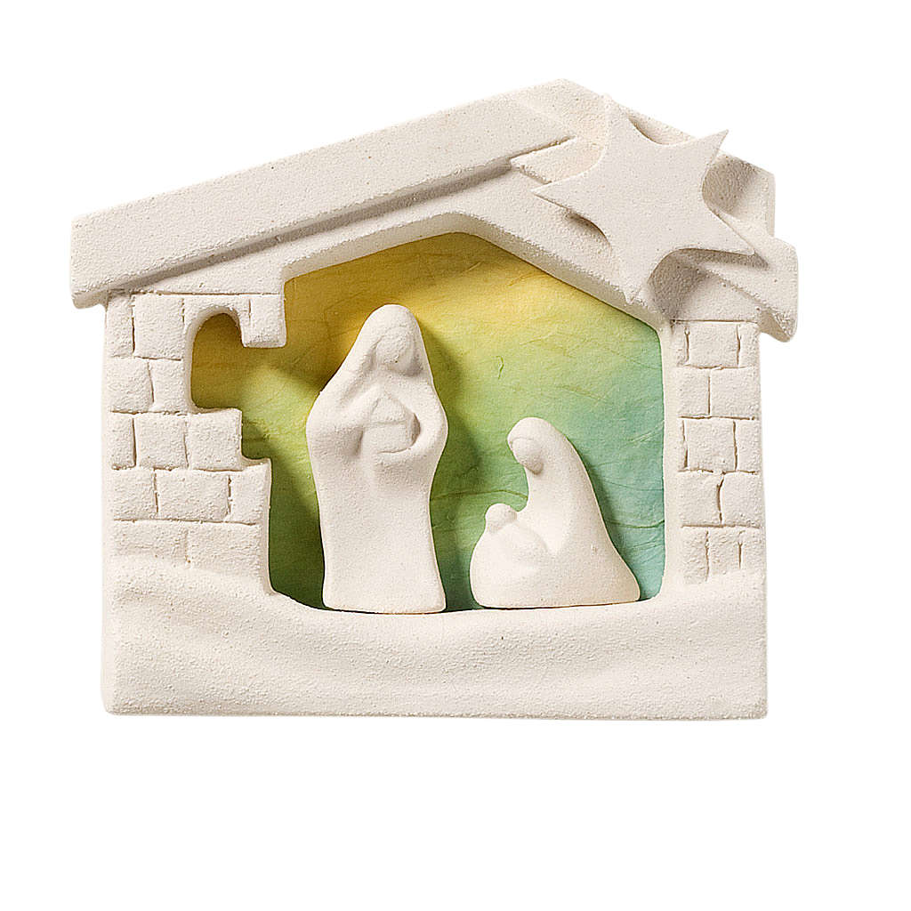 Nativity scene, wall nativity stable in clay, green 13,5cm 4