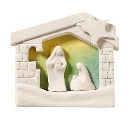Nativity scene, wall nativity stable in clay, green 13,5cm s1