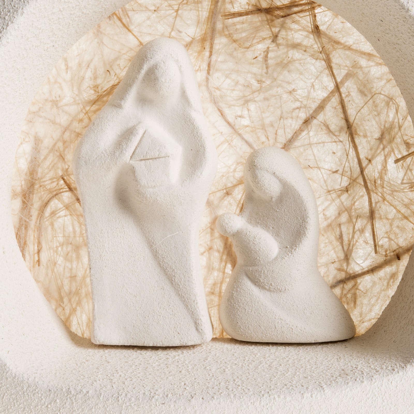 Nativity scene, tree shaped wall nativity in clay, beige 3
