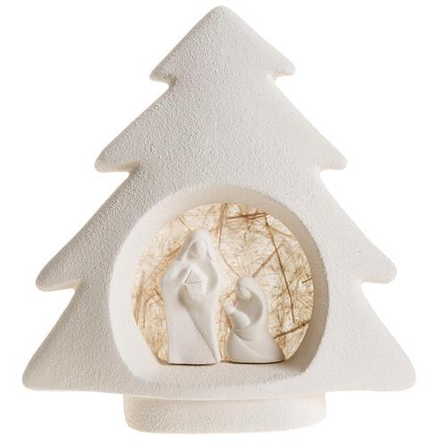 Nativity scene, tree shaped wall nativity in clay, beige 1