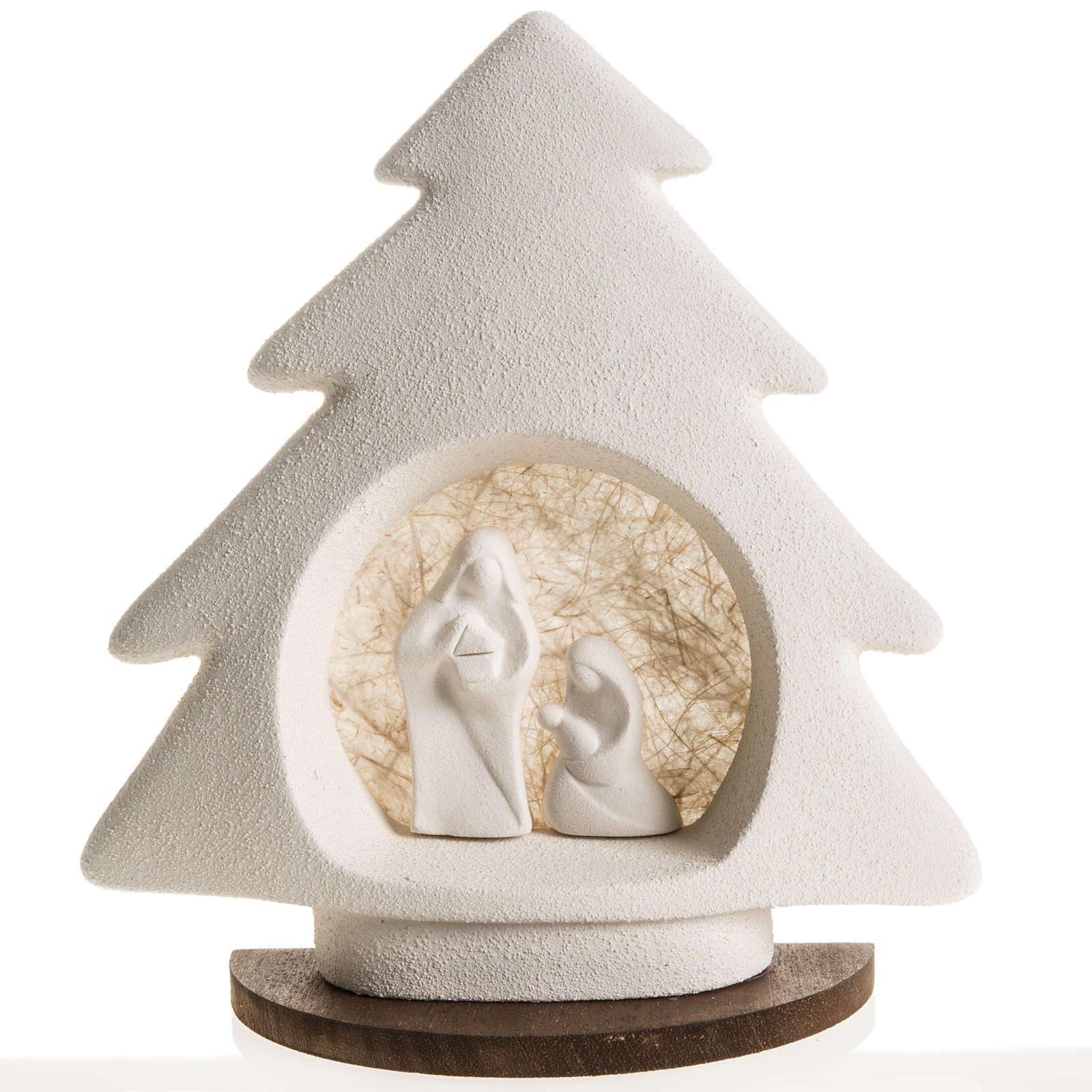 Árbol de navidad con base beige en arcilla 3