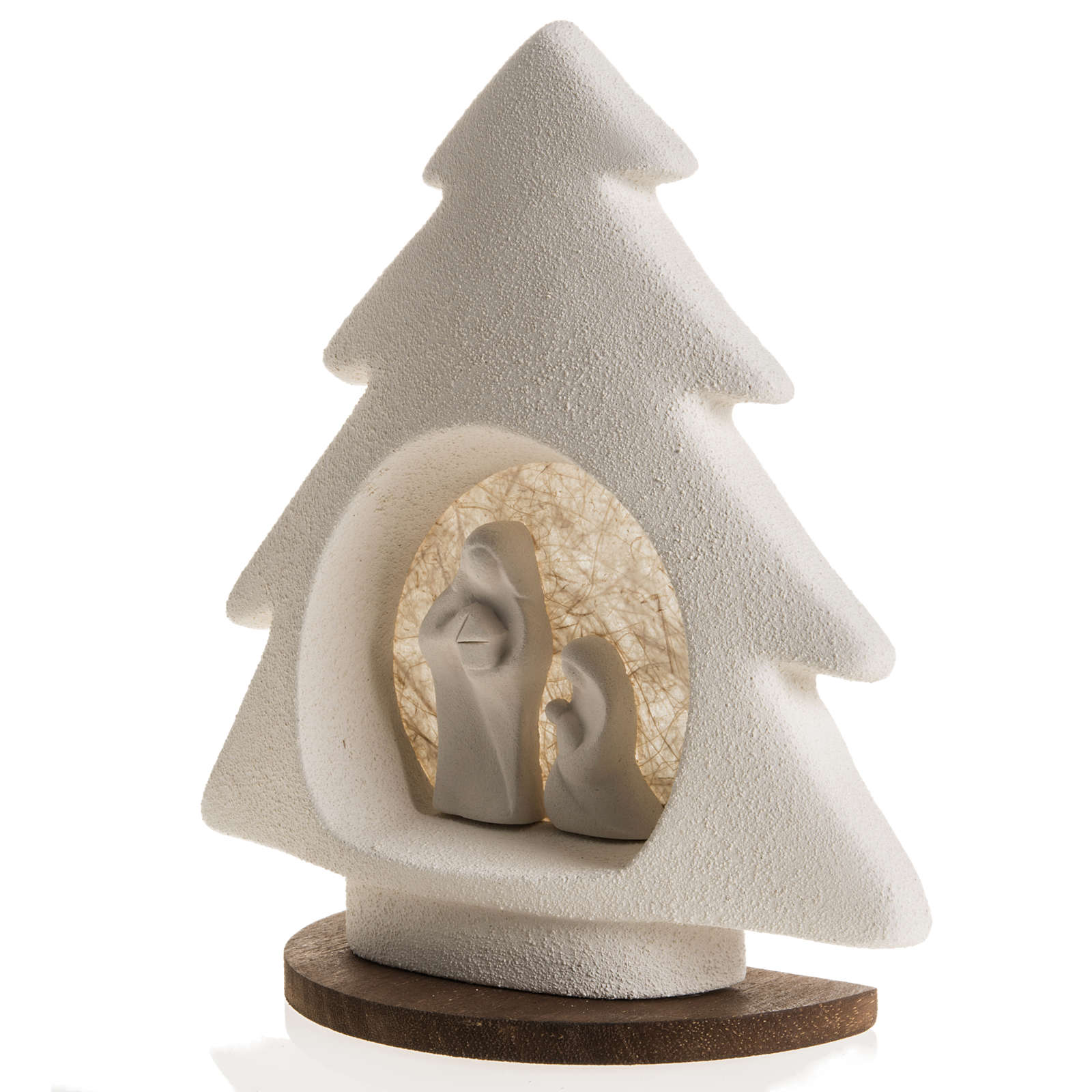 Nativity scene, tree shaped with base in clay, beige 3