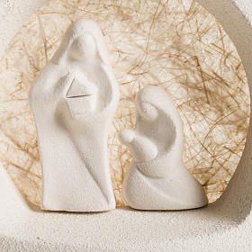 Nativity scene, tree shaped with base in clay, beige s2