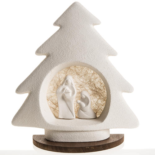Nativity scene, tree shaped with base in clay, beige 1