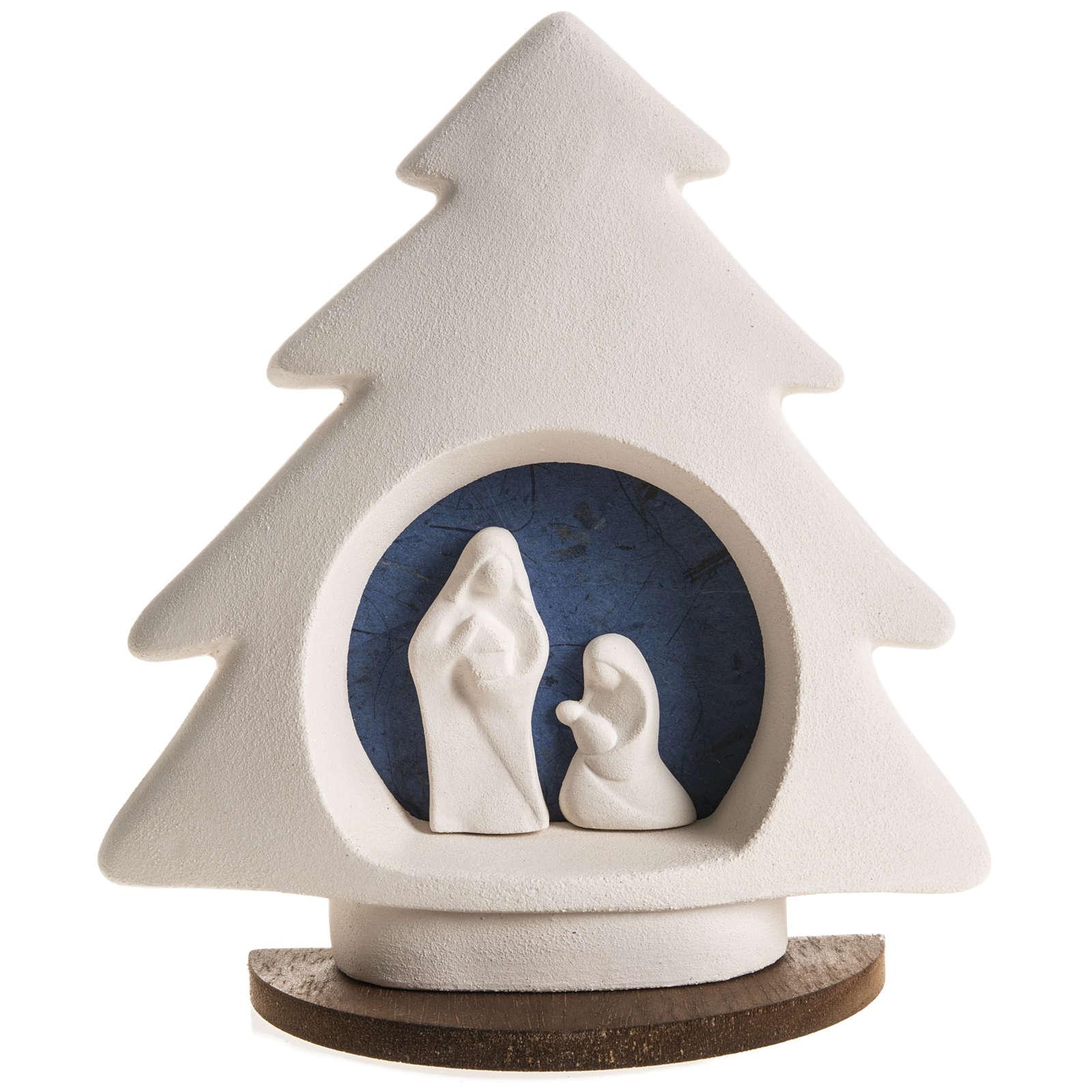 Sapin Noel sur base Nativité bleue argile 3
