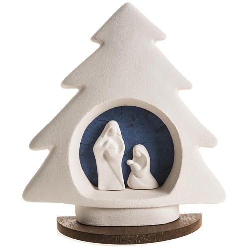 Sapin Noel sur base Nativité bleue argile 1