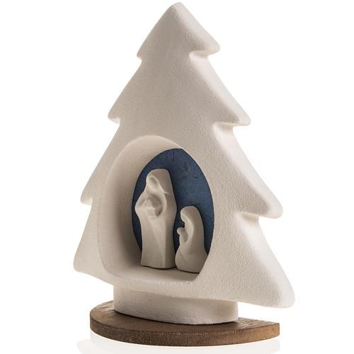 Sapin Noel sur base Nativité bleue argile 4