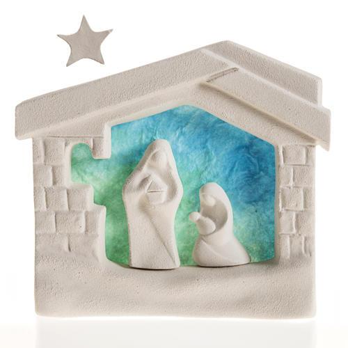 Nativity scene, wall nativity stable in clay, blue 1
