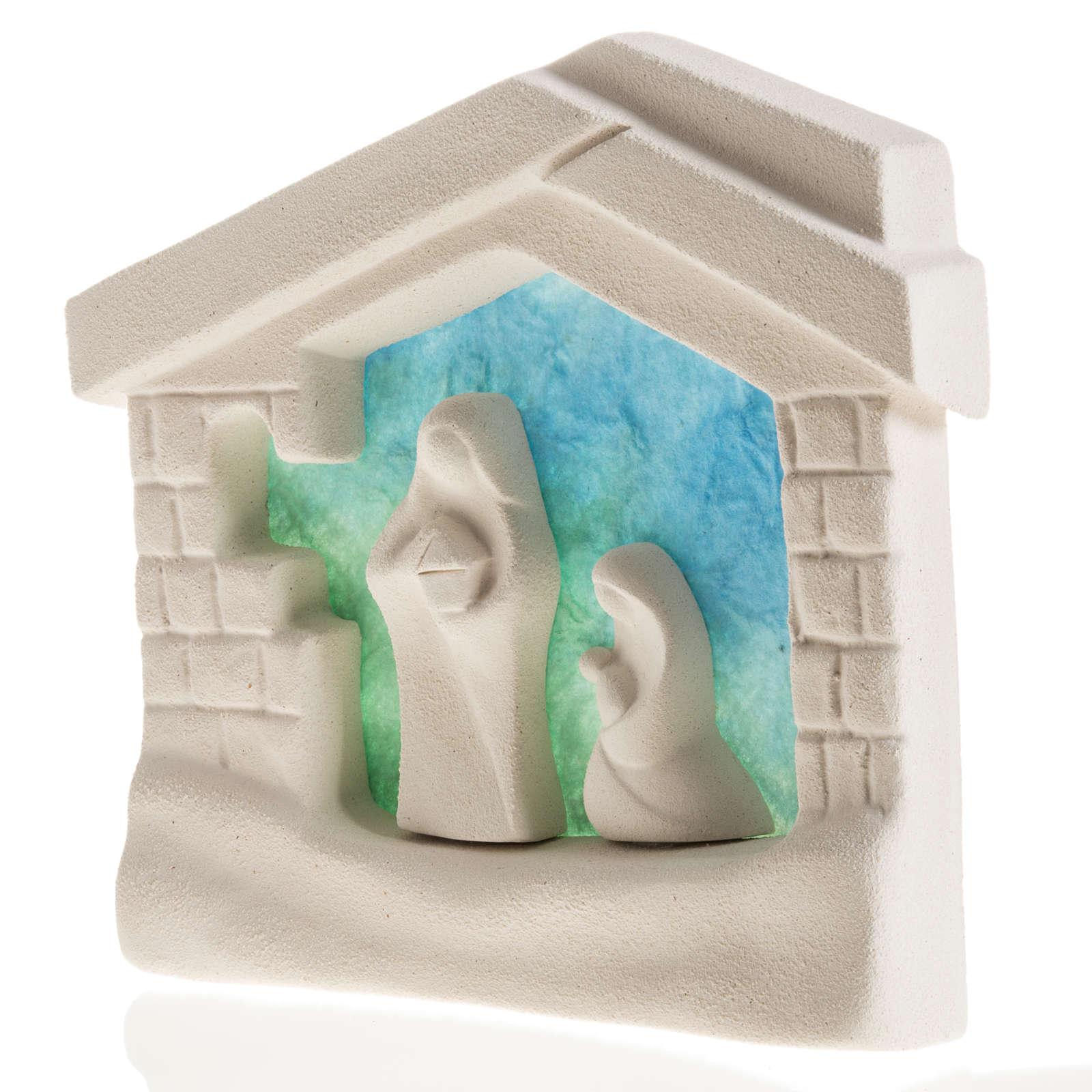 Casa del nacimiento para pared, azul claro en arcilla 4