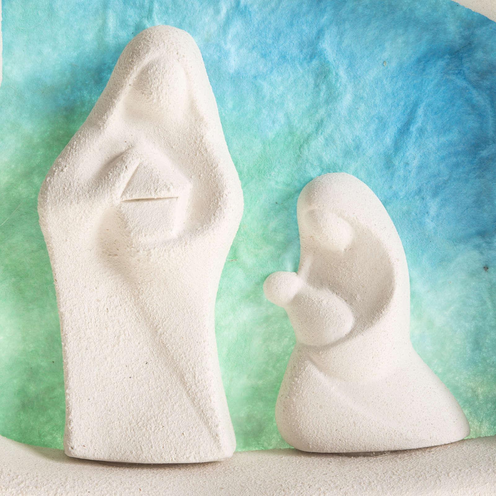 Sainte Famille à accrocher argile bleue claire 4