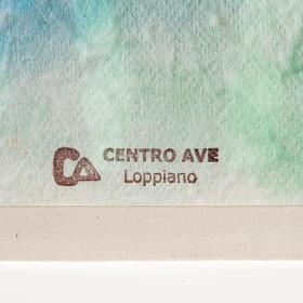 Casetta natale a parete Natività argilla azzurro s3