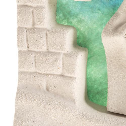 Casetta natale a parete Natività argilla azzurro 5