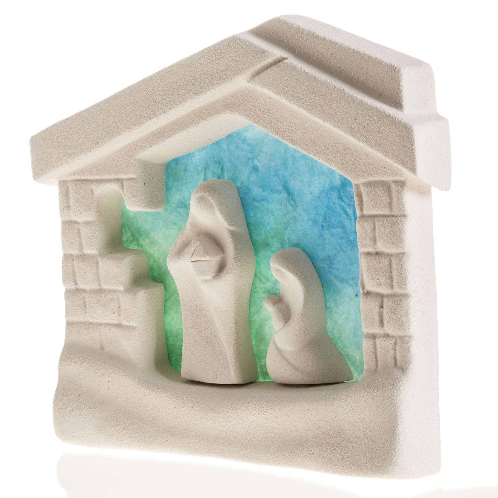 Nativity scene, wall nativity stable in clay, blue 4