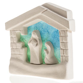 Nativity scene, wall nativity stable in clay, blue s4