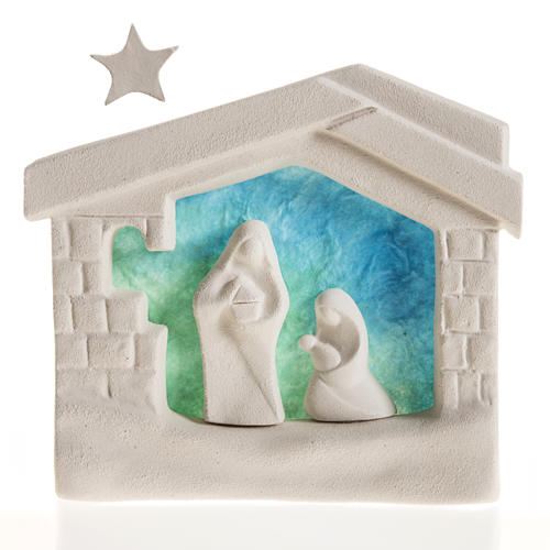 Nativity scene, wall nativity stable in clay, blue 1