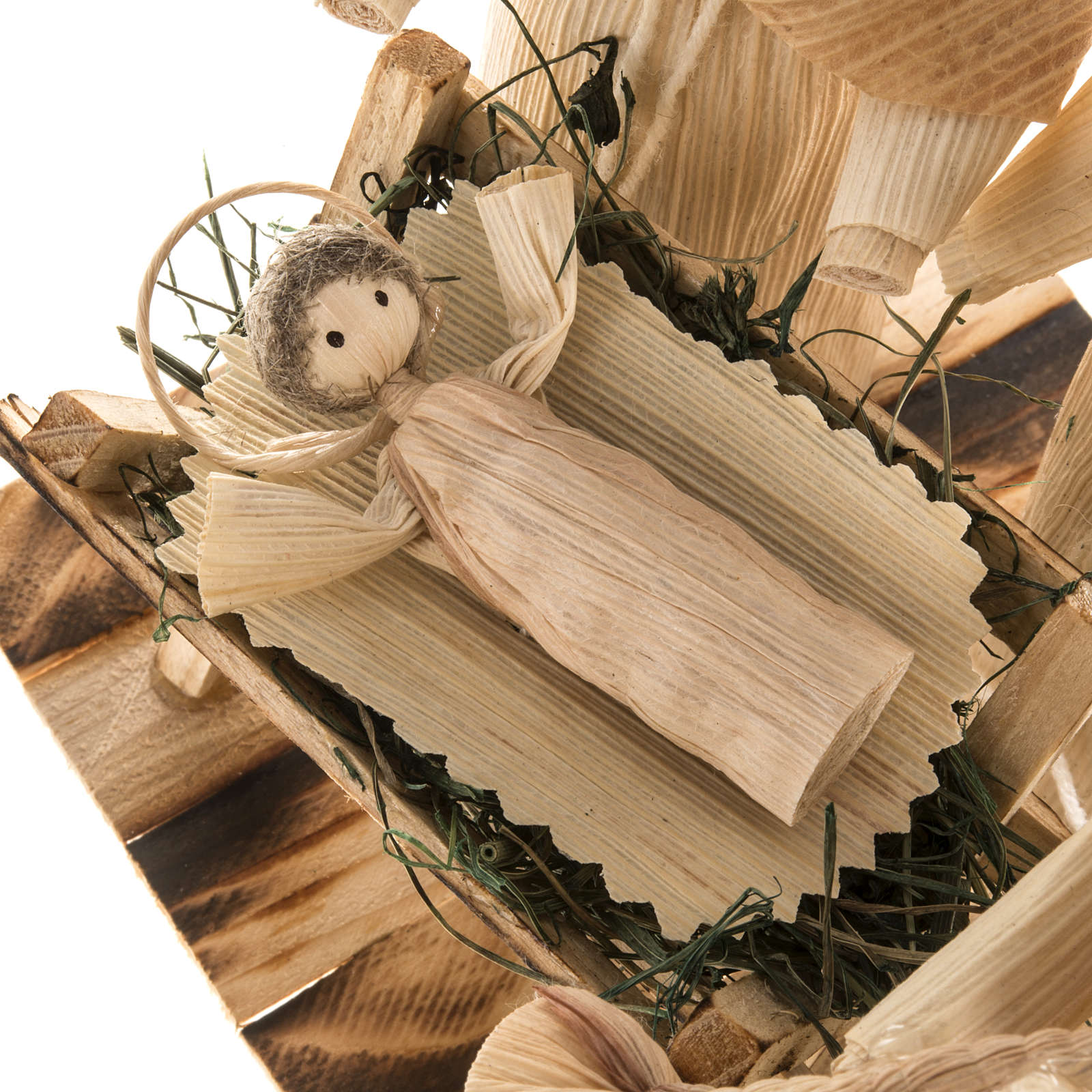 Pesebre estilizado con ángel hecho de la hoja del maiz 4